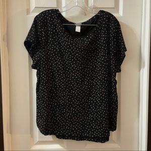 H&M Basics Black Polka Dot Print Short Sleeve Tee
